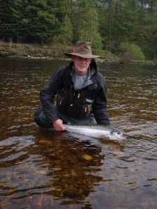 Fen Howieson with his fresh run, sea-liced 9lb Salmon, caught at The Tail of The Island 20/04/11